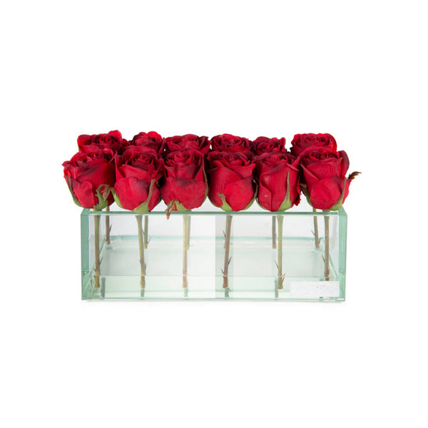 "Red Rose Buds in Glass Plate Vase. 4 sizes (8"", 12"", 24"" & 48""L)"