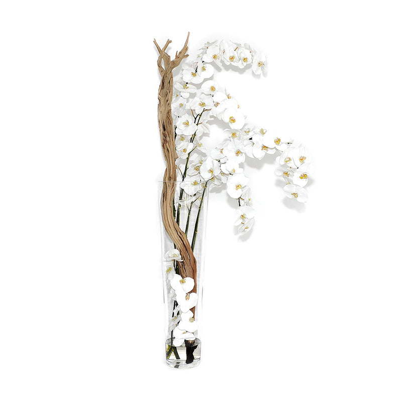 "White Phalaenopsis & Wood 35"" Tapered Vase"