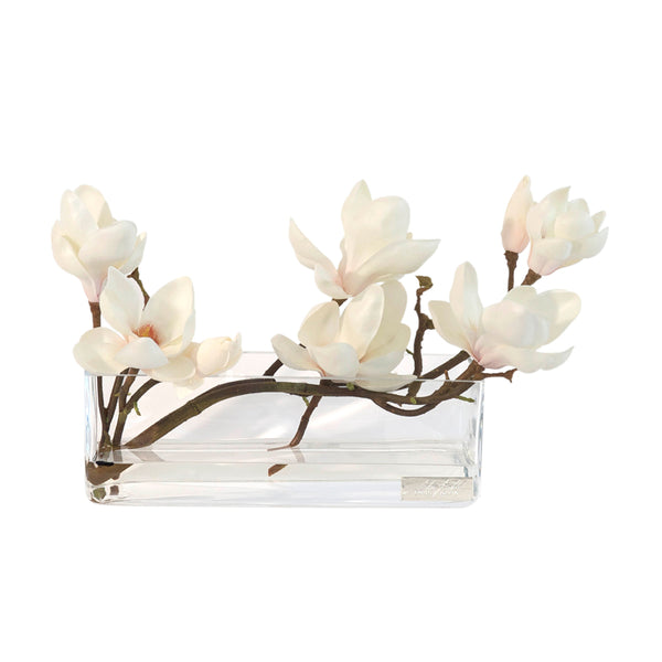 "Champagne Magnolia in 12"" Rectangle Vase"