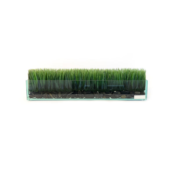 "Grass & Black Stones 24"" Glass Plate Planter"
