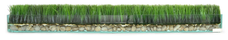 "Grass & Stones in 48"" Glass Plate Planter"