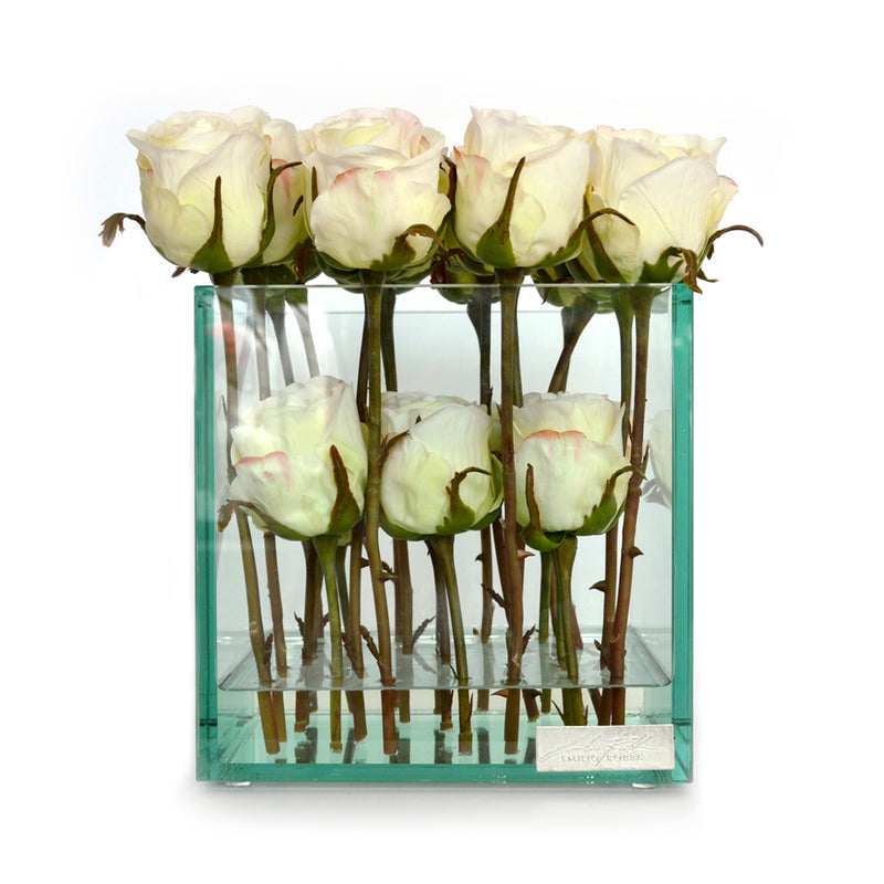 "White Roses 8"" Glass Plate Cube"