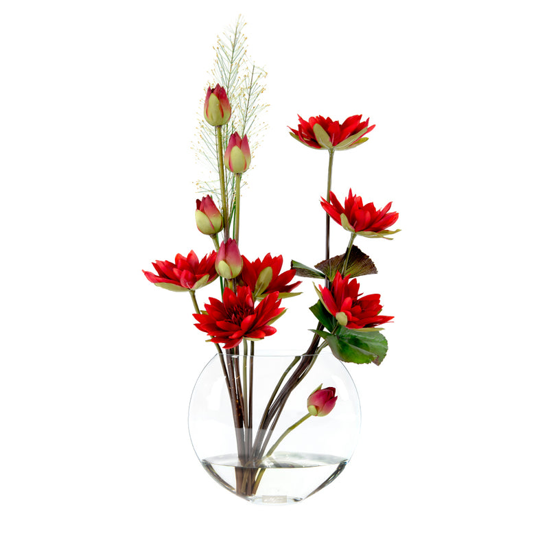 "Red Lotus w/ Bud & Leaf 13""H Moon Vase"