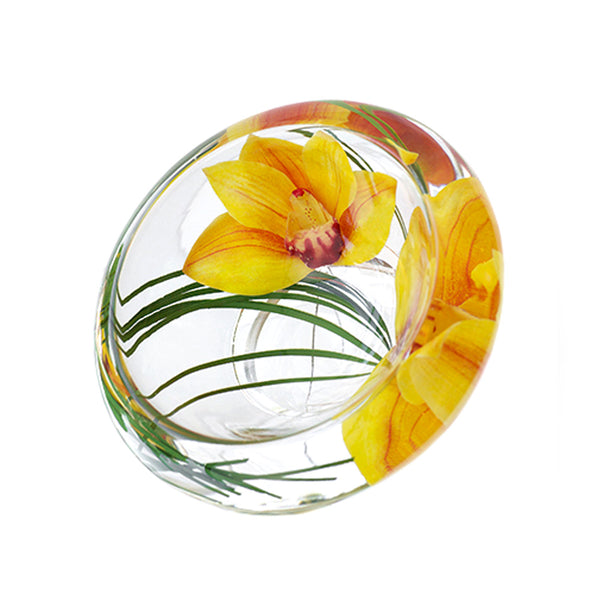 Yellow Cymbidium Flower Bowl