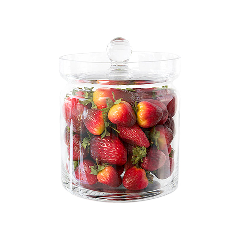 "Strawberries 8""H Glass Canisters"
