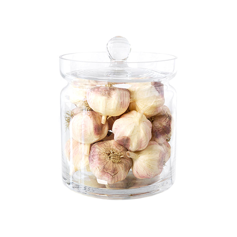 "Garlic 8""H Glass Canisters"