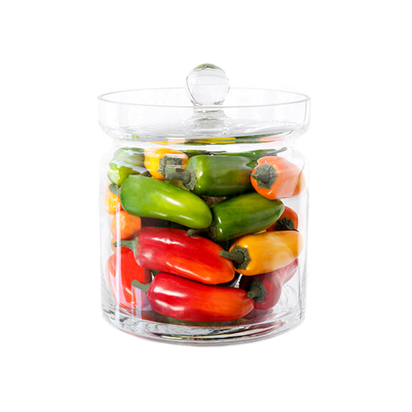 "Mixed Peppers 8""H Glass Canisters"