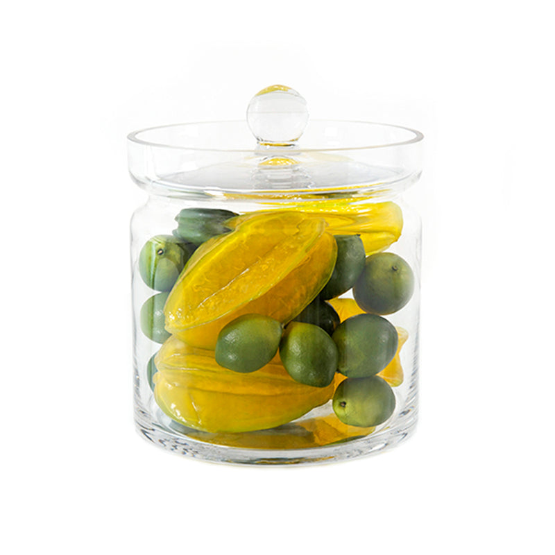 "Lime & Star Fruit 8""H Glass Canister"