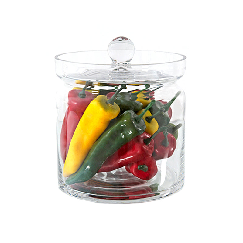 "Mixed Chillies 8""H Glass Canister"