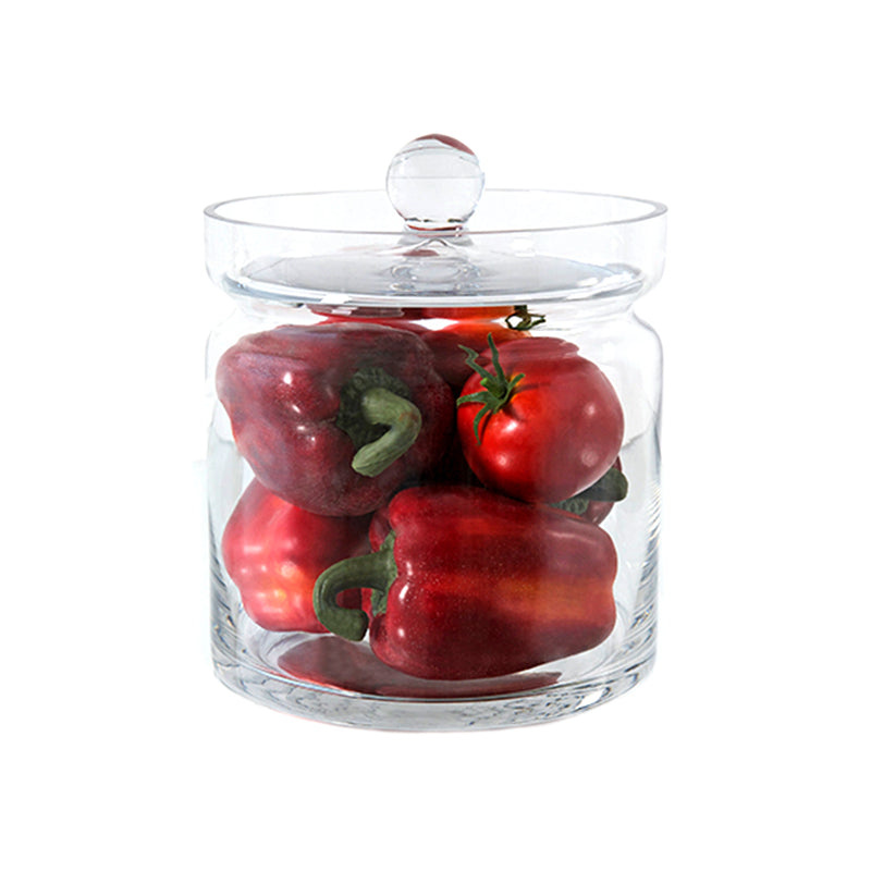 "Red Bell Peppers & Tomatoes 8""H Glass Canisters"