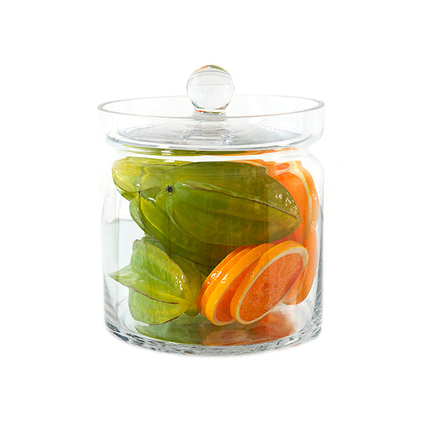"Star Fruit & Orange Slices 8""H Glass Canisters"