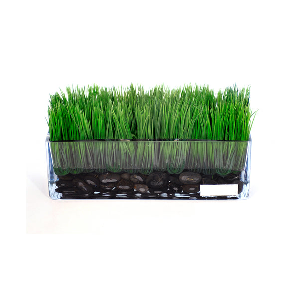 "Grass & Stones in 12"" Rectangle Vase"