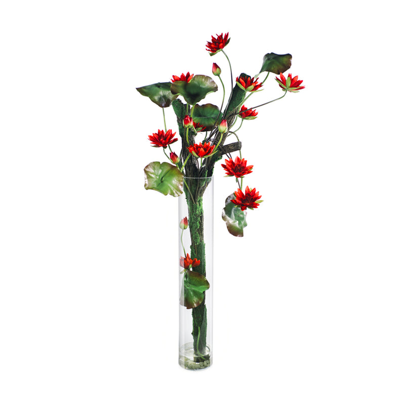 "Red Lotus Tree 55""H Cylinder"