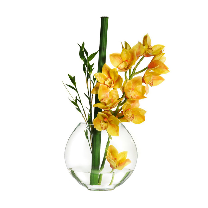 "Yellow Cymbidium & Bamboo Leaves 10""H Moon Vase"