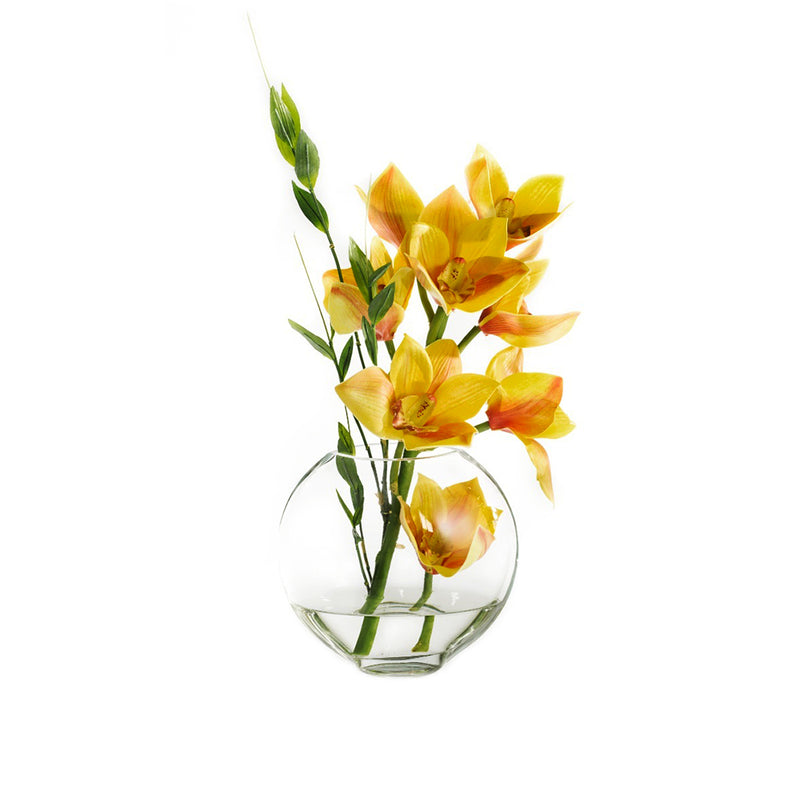 "Yellow Cymbidium & Bamboo Leaves 6.5""H Moon Vase"