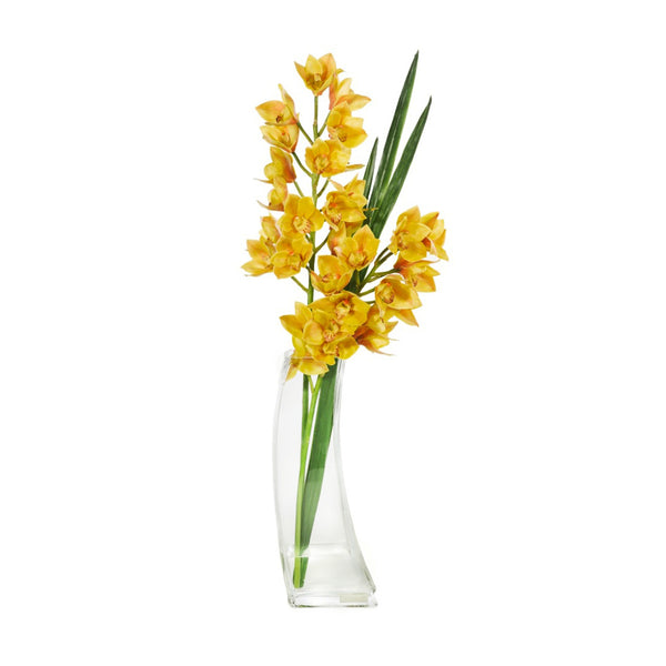 "Yellow Cymbidium & Flax 19""H Deco Vase"