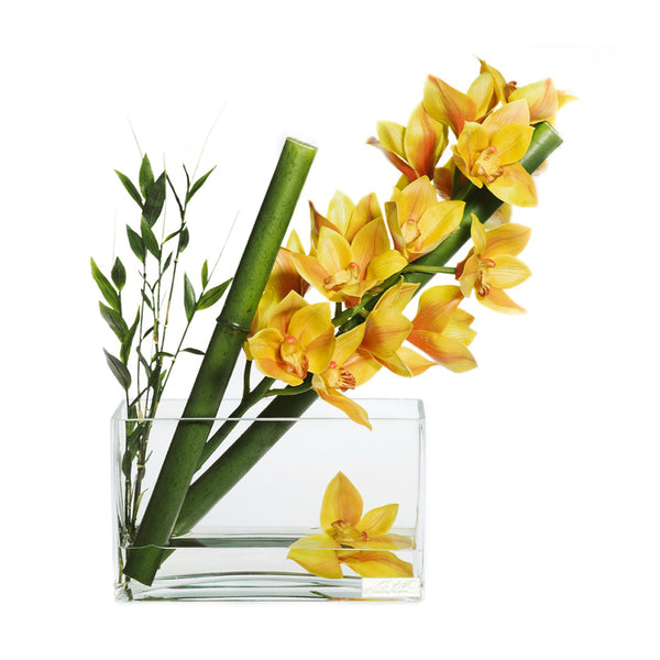 "Yellow Cymbidium & Sugarcane 7""H Aquarium"