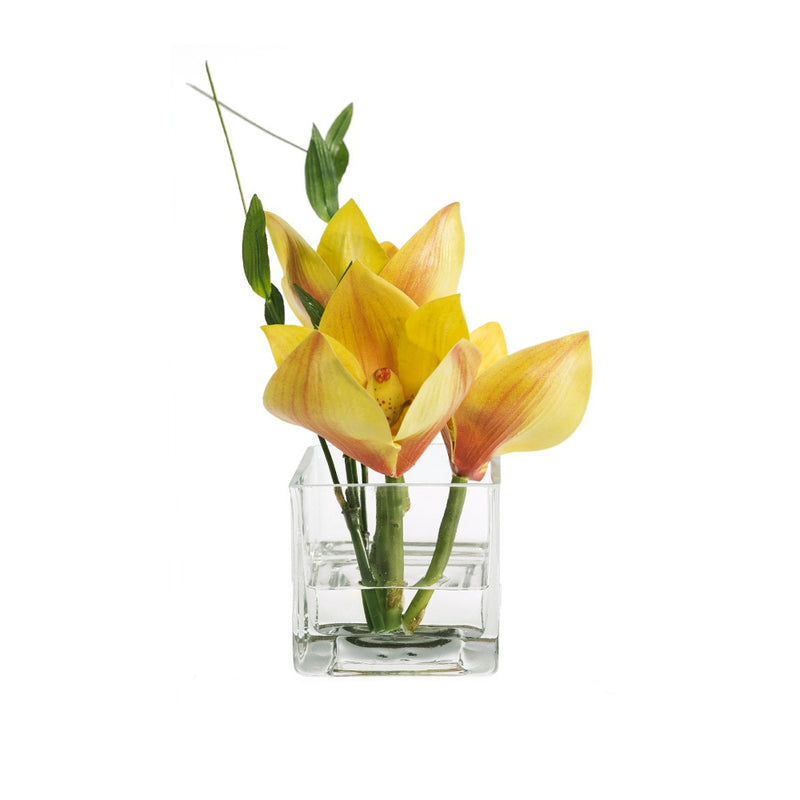 Yellow Cymbidium & Bamboo Leaves Square Vase