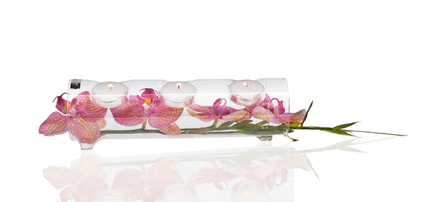 Pink/Yellow Phalaenopsis & Grass 3 Candle T-Light Log