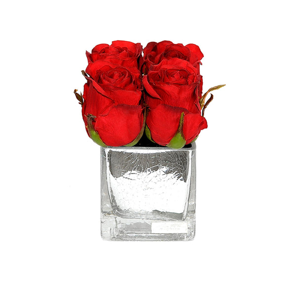 Red Rose Buds Silver Crackle Square