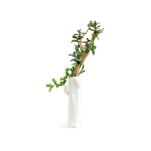 Succulent Bonsai White Birds Ceramic Vase