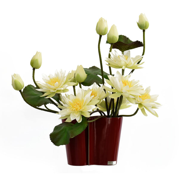 White Lotus in Red Infinity Vase