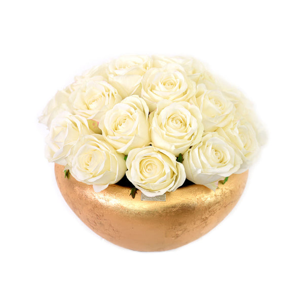 White Roses in GoldLeaf Bowl