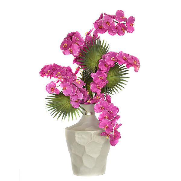 Radiant Phalaenopsis in Grey Tall Vase
