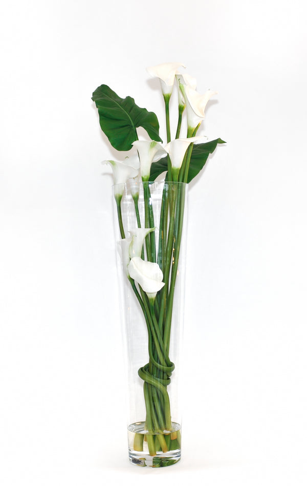 "White Calla Lily 36"" Tapered Vase"