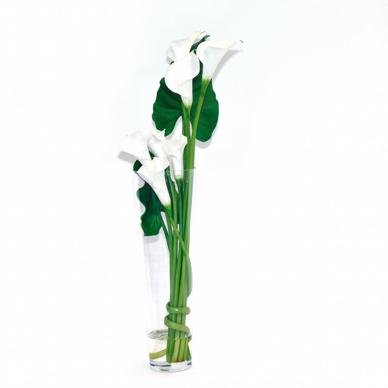 "White Calla Lily 23.5"" Tapered Vase"