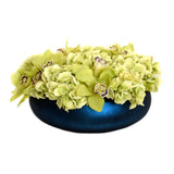 Green Hydrangea, Cymbidium Fresh cut Blue Bowl Vase