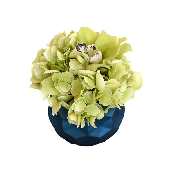 Green Hydrangea, Cymbidium Fresh Cut Blue Round Vase