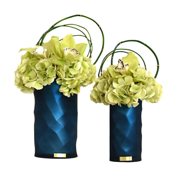 Green Hydrangea, Cymbidium Fresh Cut Blue Rota Vase