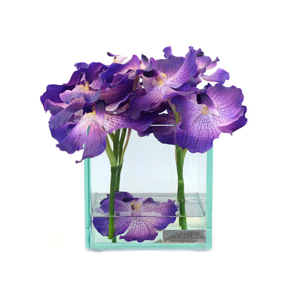 "Purple Vanda 8"" Square Plate Glass Planter"