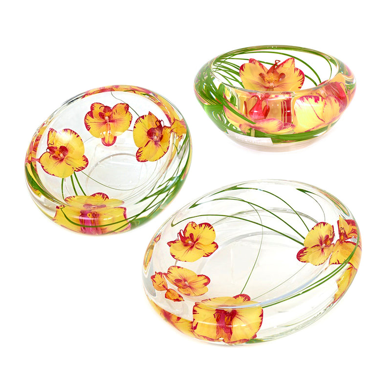 Yellow/Fuchsia Phalaenopsis Flower Bowls Set of 3