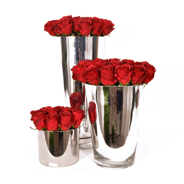 "Red Roses 17"" Silver Conical Vase"