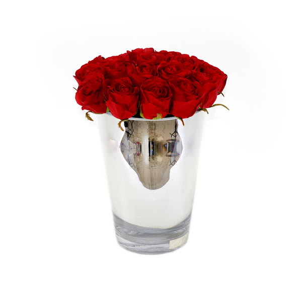 Red Roses Silver Conical Vase