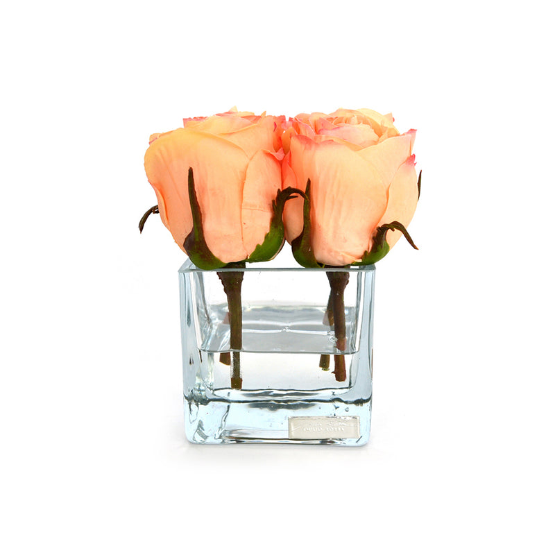 Peach Rose Buds Square Vase