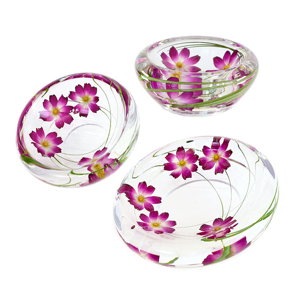 Purple Cosmo Flower Bowls Set of 3