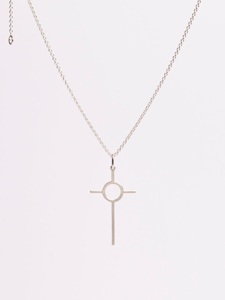 Circle Of Love Cross Necklace. Gold / Silver