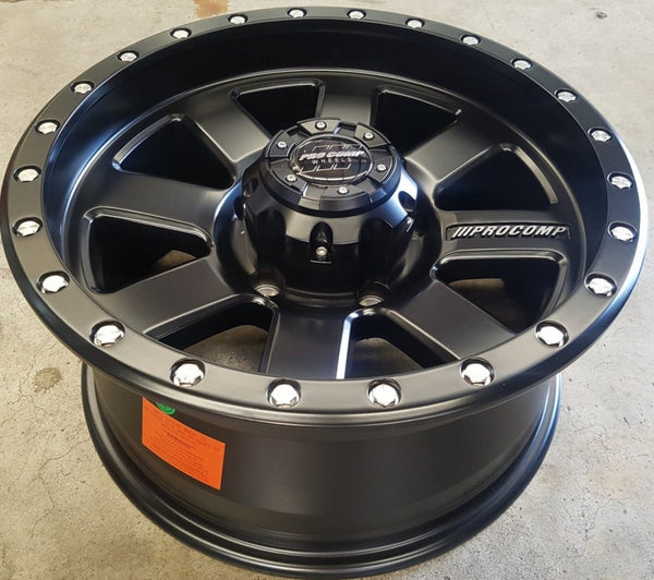 ProComp Trilogy 17x8 5/150 0p and -50 offset suit Landcruiser Full Satin Black