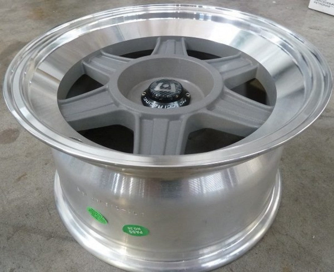 Motegi MR124 15x8 6p offset Grey polished lip Blank drill to 4/110 4/114.3 4/108