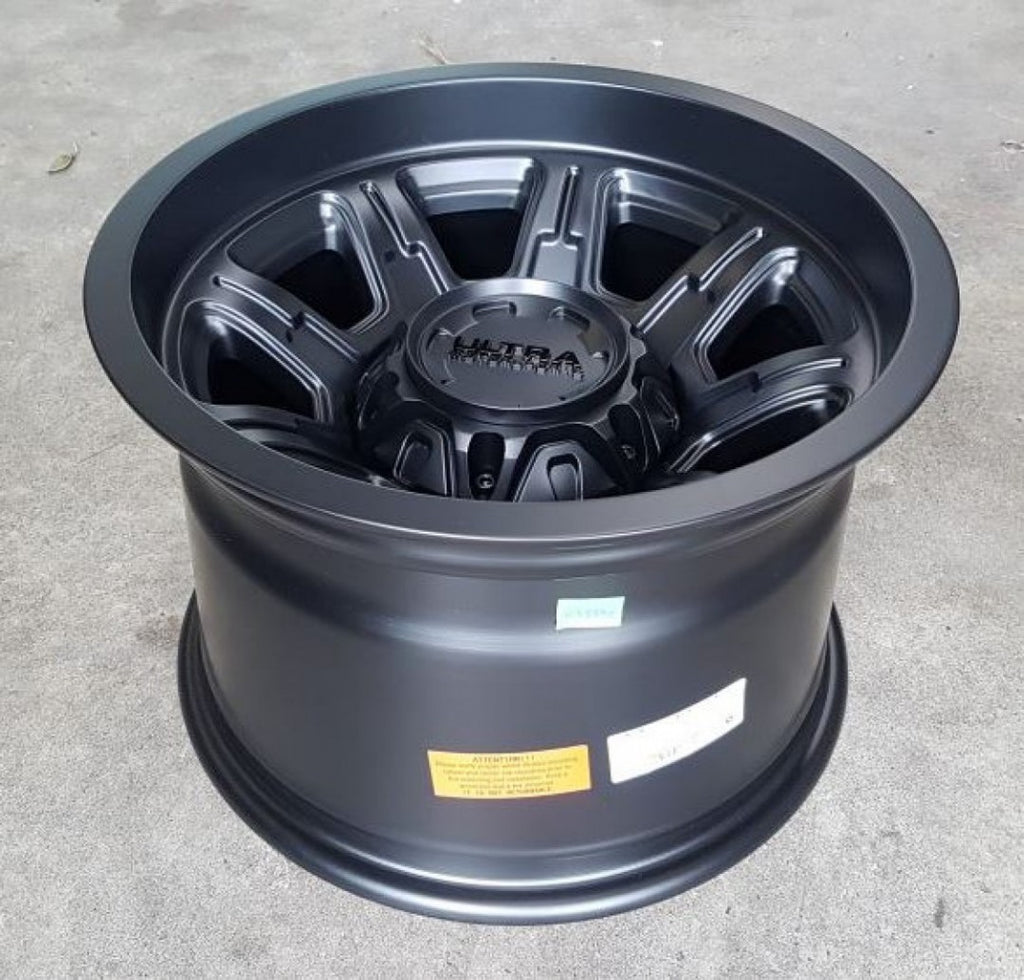 Ultra Menace 15x10 6/139.7 Neg 44 offset Satin Black 106mm CB Great for Hilux