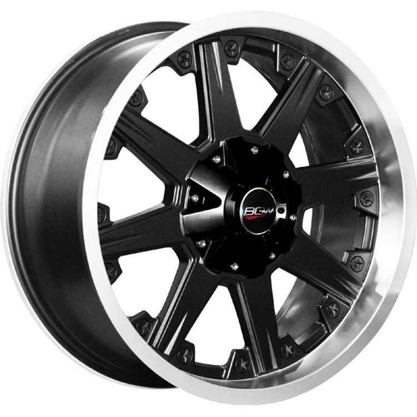 "BGW Shank 20x9 30p 6/114.3 Black Machined Lip mags 4 brand new wheels 20"" mags"