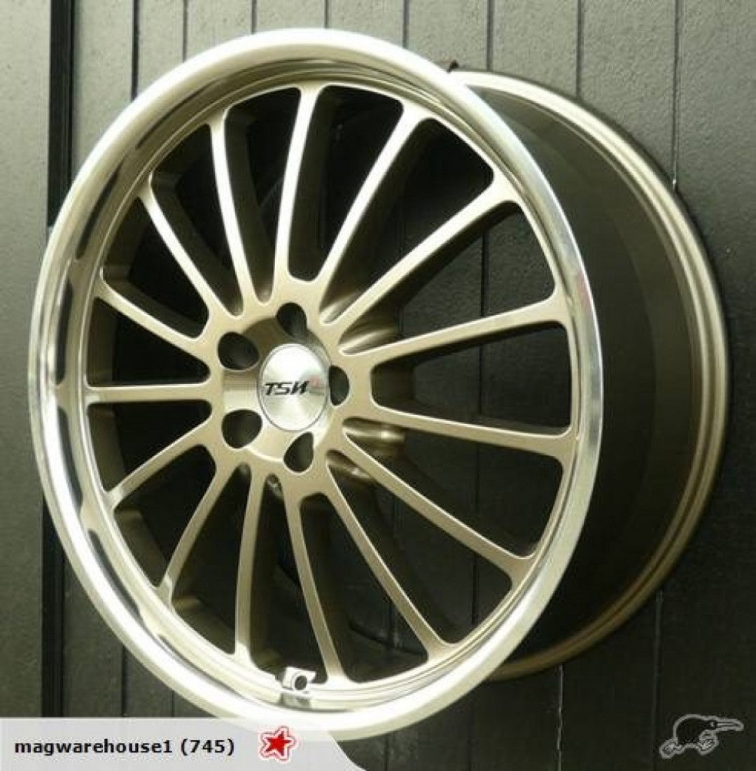 TSW Zolder 19x8 20p 5/114.3 Gold great mid offset for Nissan Skyline