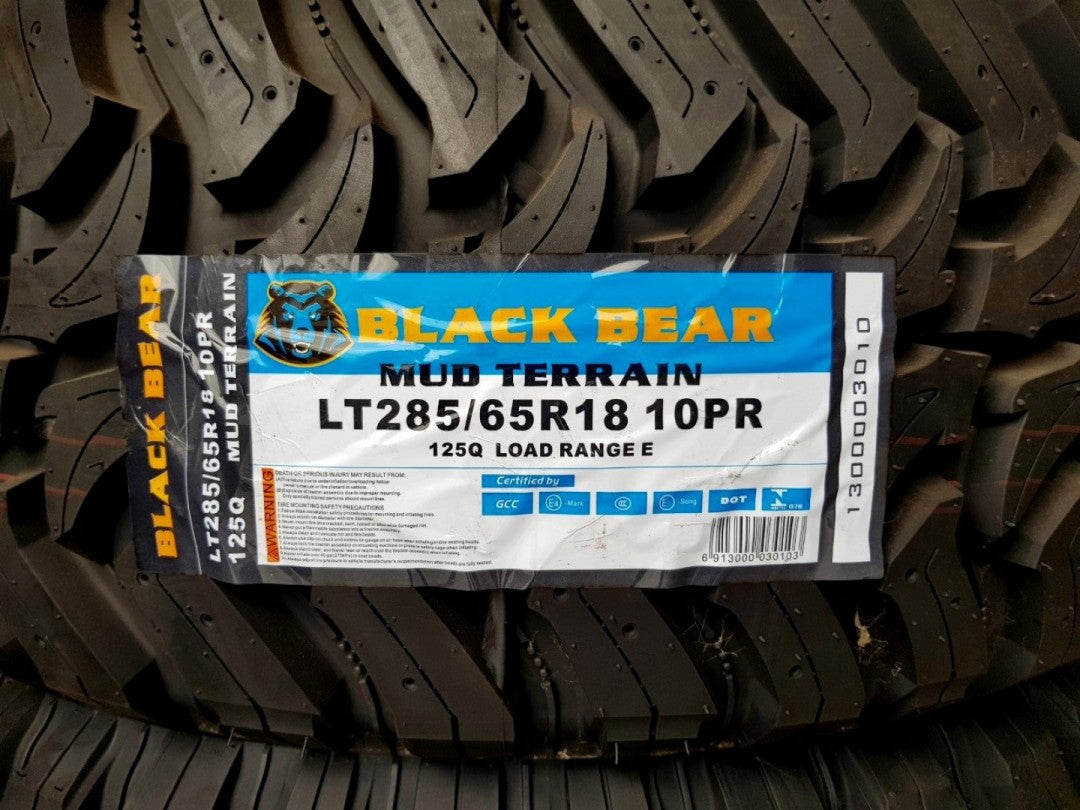 285/65R18 Black Bear Mud Terrain Brand New tyres x 4 Great for Ranger, JK Jeep