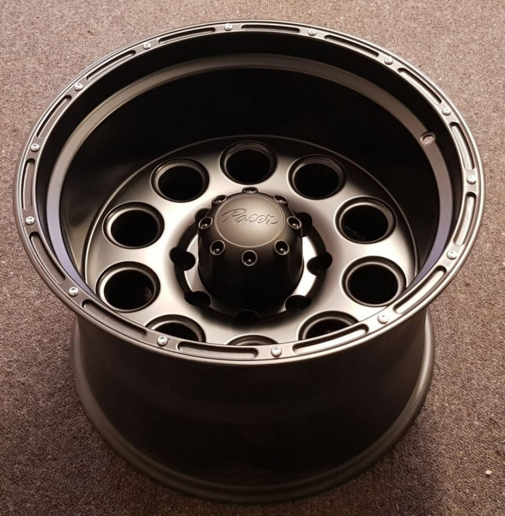 4x PACER BAJA 18x12 8/170 -51 low offset Gloss Black NEW 8 stud wheels F250