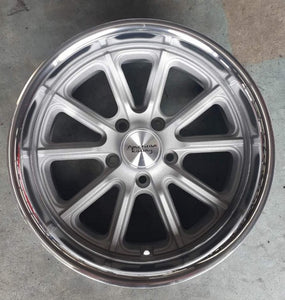 American Rodder 17x7 & 17x8 5/4.75 0 Vintage Silver polished lip new mags Chev