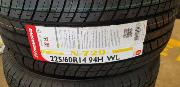 2 x 225/60R14 Nankang 94H N729 Brand New tyres with Raised White Lettering