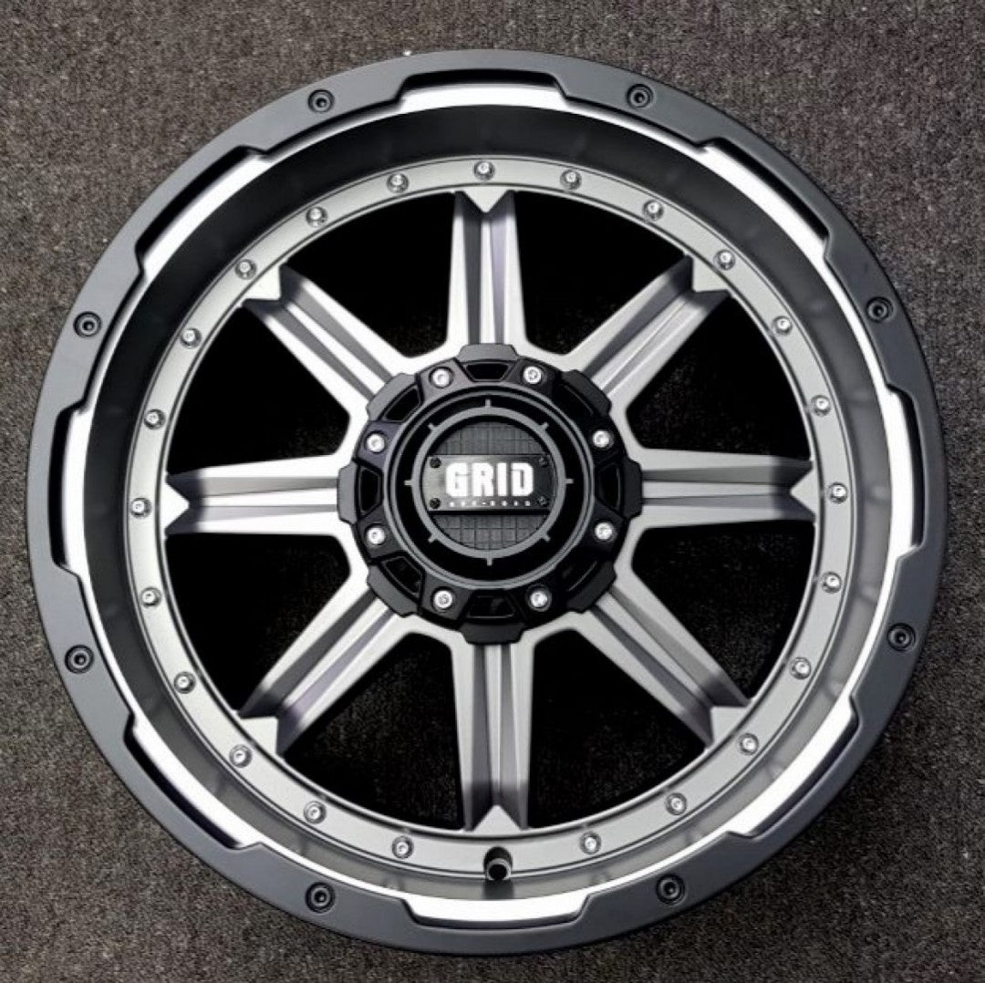 4 x New Grid GD10 20x9 6/139.7 -12 Matt Anthracite with Black & Milled Lip
